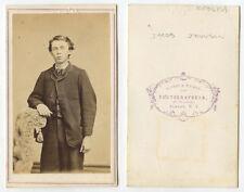 CDV STUDIO PORTRAIT YOUNG MAN JACOB JOHNSON? FROM ALBANY, NY