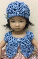 "Crochet ""Blue "" Sweater & Hat ~Effner Little Darling Or Similar 13-14"" Dolls"