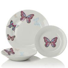 12pc Mariposa Purple / White Porcelain Dinner Set