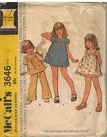 3646 Vintage McCalls Sewing Pattern Girls Dress Top Pants Carefree Summer OOP