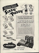 1947 Paper AD Meyercord Co Puzzy Sizzy Cartoon Character Decals Glasses Comic