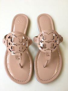 Tory Burch Miller Sandal Flip Flops Sea Shell Pink Blush Patent Leather Sz 7.5