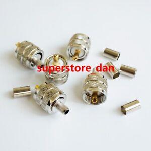 10X UHF Male PL259 plug crimp for RG-8X RG8X LMR240 RG59 cable RF connector