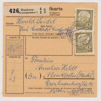 BUND, Mi. 261x MeF Paketkarte, Hamburg-Neuengamme, 9.8.61