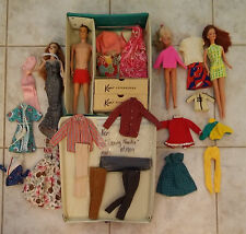 Vintage Barbie & Ken dolls lot clothes dress in carry case dated 1961