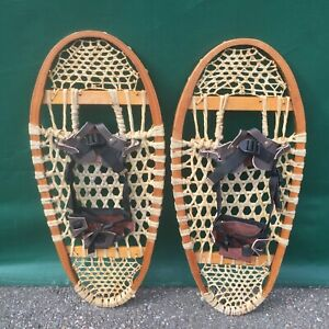 Vintage BEAR PAW SNOWSHOES 29x12 Snow Shoes + BINDINGS