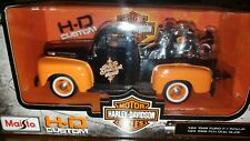 1948 Ford F-1 Pickup Truck Orange/Black with 1958 FLH Duo Glide Harley Davidson