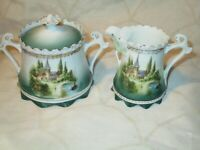 "Antique RS PRUSSIA ""Castle Scene"" Creamer & Sugar Mold # 576 Wreath Mark"
