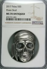 Ek // 5 Dollar Silver Coin Palau 2017 Pirate Skull : Antiqued MS70
