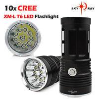 32000LM SKYRAY 12 x CREE XM-L T6 LED Flashlight Torch 4 x 18650 Hunting Lamp 00