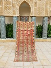 "Vintage Moroccan Handmade Runner Rug Tribal Checkered tribal Berber rug 7'3""x3'2"