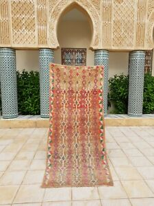 "Vintage Moroccan Handmade Runner Rug Tribal Checkered tribal Berber rug 7'3""x3'2"