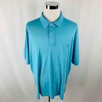 Vintage Polo Ralph Lauren Baby Blue Pima Interlock Polo Shirt Mens 2XLT XXL Tall