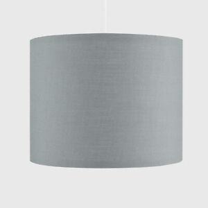 CGC Grey Silver Inner 30cm Drum Lamp Fabric Shade Pendant Table Lamp Bedroom