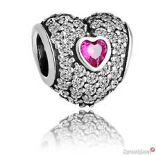 Genuine Pandora Silver S925 ALE- RED PAVE HEART CHARM-791168SRU RRP£60!!!
