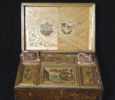 ANCIENNE BOITE A BIJOUX COFFRET COUTURE EN MARQUETERIE DE PAILLE XIX EME (A488)