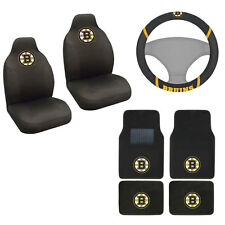 New NHL Boston Bruins Car Truck Seat Covers Floor Mats Steering Wheel Cover Set
