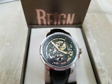 w/tags Reign Matheson Men's Automatic Skeleton Black Leather Band Silver Watch