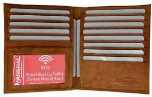 RFID Hipster Mens Genuine Cow Leather Slim Bifold Euro Multi Card ID Wallet Tan