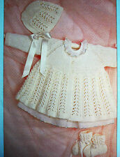KNITTING PATTERN Matinee Coat Bonnet Bootees Easy Knit Christmas Gift / F4a - 99