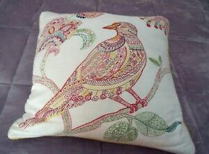 """PIER 1 Embroidered BIRD Throw Pillow Red Blue Ivory FLORAL 17"""" Removable Cover"""