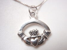 Very Small Claddagh Celtic Pendant 925 Sterling Silver