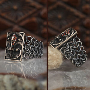 Mens Silver Ring Ruby Handmade Sterling Silver 925 Vintage Jewelry Size 7-13