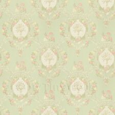 Pack Of 5 Dolls House Mixed Colour Damask Flower On Green Wallpaper Sheets