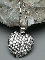 Bauchiges 925 Silber Herz Diamonique HVE 925 Silber punz. & Silberkette /A906