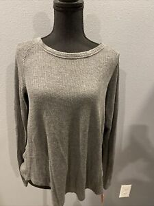 Mossimo Supply Co Women's Long Sleeve Thermal Waffle Top Gray Size XS ~ NWT