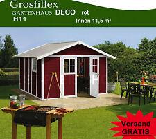 Grosfillex Kunststoff - Gartenhaus DECO H 11 ROT Witterungsbeständig Doppeltür