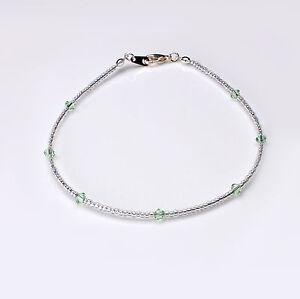 Chrysolite Green Swarovski Crystal Elements and Clear Seedbead Bracelet