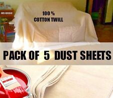 5 PACK HEAVY DUTY COTTON TWILL DUST SHEETS  LOWEST UK PRICE - STOCK CLEARANCE.