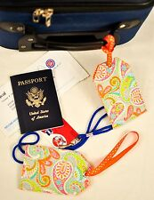 """hand crafted fabric luggage tags set of 2 secure info 3.5"""" X 5.5"""" paisley & dots"""