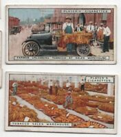 Tobacco Unloading Leaves At Auction Sales Warehouse TWO  90+ Y/O Trade Ad Card