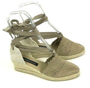 Ilse Jacobsen Hornbaek Ankle Wrap Espadrille Wedge Crochet Sandals Women's 7 M