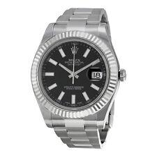 Rolex Mens Datejust II Black 18K Gold Automatic Swiss Made Watch 116334BKSO