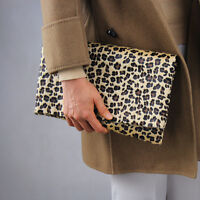 Leopard Faux Pony Horse Hair Fur Foldover Convertible Envelope Clutch Purse Tan