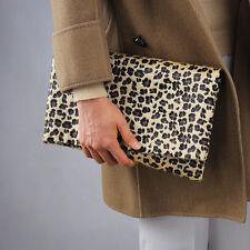 Leopard Faux Pony Horse Hair Fur Foldover Convertible Envelope Clutch Purse Tan