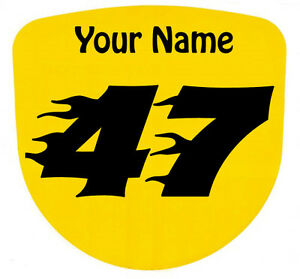 3 x Custom Race Numbers and Name Stickers Decals Kart Motocross MX Dirt Bike -S2