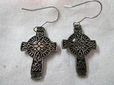 Vintage silver tone HMK CDS pierced Earrings Celtic Cross