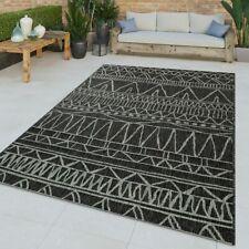 Flachgewebter In-& Outdoor Teppich Abstraktes Muster Orientalisch Schwarz Modern