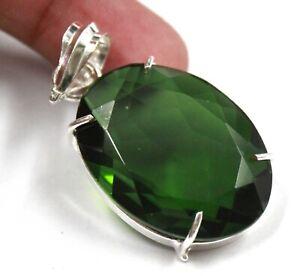 76.00 Ct Certified Oval Shape Green Moldavite Pendant 925 Sterling Silver GA89