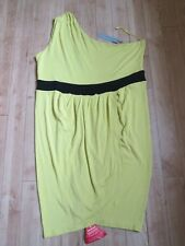 SOUTH VISCOSE 1 SHOULDER SUMMER DRESS WITH CURVED WRAP TULIP SKIRT, SIZE 18, NWT