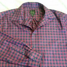 Jos A Bank Travelers Collection Pink Blue Plaid Button Front Shirt Men's Size L