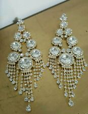 Clip on chandelier silver goldtone rhinestone earrings drag queen beauty pageant