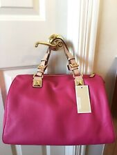 NWT 100% Authentic Leather Michael Kors LG Grayson Satchel, Electric Pink RARE!!