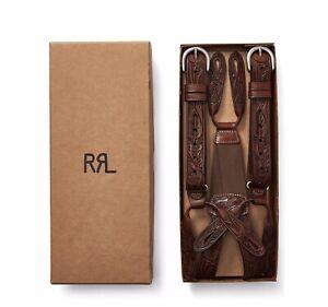 RRL Ralph Lauren Hand Tooled Leather Suspenders Braces-MEN