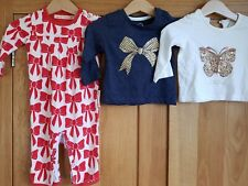 Baby Girls Bundle 3-6 months Romper Footless sleepsuit Long Sleeved Tops sparkly