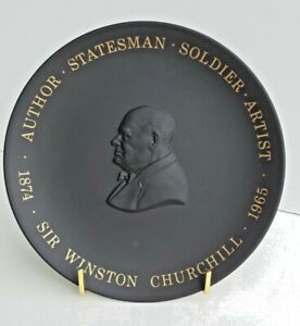 Vintage Retired Wedgwood Black Basalt Sir Winston Churchill Centenary Plate Nice